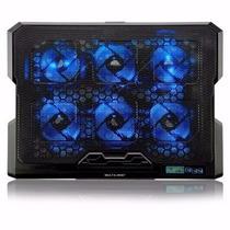 Cooler Para Notebook Com 6 Fans Led Azul - Ac282