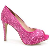Sapato Zariff Shoes Peep Toe Rosa Festa   Zariff