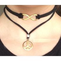 Gargantilha Dupla Infinito Com Simbolo Da Paz