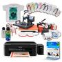 Kit Prensa 8x1 + Impressora + 50 Camisetas + 100 Folhas