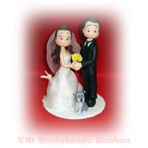 Topo De Bolo Fofinho Para Casamento Noivos Com Animalzinho