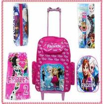 Mochila Escolar Personagen Frozen Kit Com Relógio Projetor