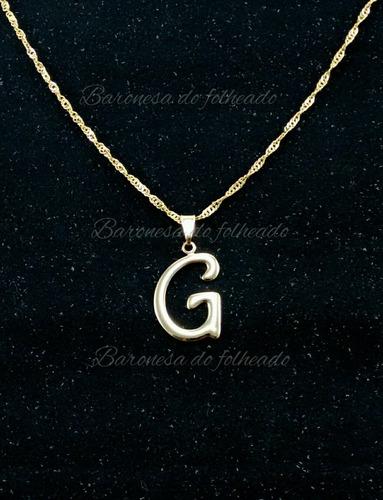 Colar Feminino Com Inicial Do Nome Letra G Folheado A Ouro - R  18 ... 8104b5e99e