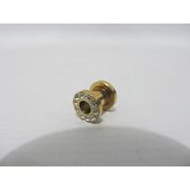 Alargador Aço Inox - 2 Unidades Dourado 5mm Com Brilhantes
