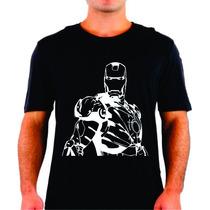 Camiseta Iron Man Homem De Ferro Lineart Vetor Em Algodão