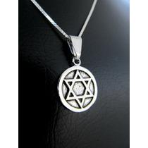 Pingente Medalha Estrela De Davi Hexagrama Pequena Prata 925