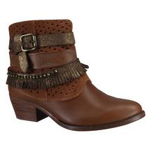 Bota Ankle Boot Tanara N6761 Tiras Brilho E Franjas Caramelo