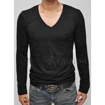 Blusa Masculina Manga Longa Comprida Camiseta Slim Inverno