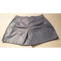 Shorts Feminino Azul De Couro - Unica