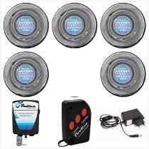 Kit Iluminação Para Piscina 5 Refletores 25 Leds E Comand