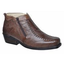 Botina Cano Curto Bota Sapato Em Ziper Estilosa Couro Luxo
