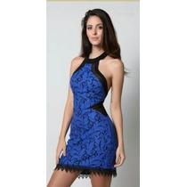Vestido Planet Girls Frente Única Com Renda Azul Tam G
