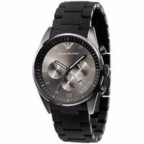 Relógio Emporio Armani Ar5889 Preto Pulseira Borracha Wr50mt