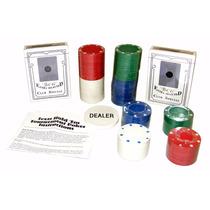 Kit Poker 100 Fichas 2 Baralhos Botão Dealer E Forro De Mesa