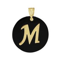 Pingente Letra M Pedra Ônix Ouro 18k Mães Mulher Marcojoias
