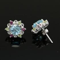 Brinco Prata 925 + Ródio + Topázio Azul + Peridoto + Pedras