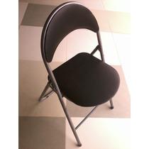 Cadeira Dobravel Metal Cinza Com Encosto E Assento Estofados