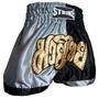 Shorts Muay Thai Kick Boxing New Strike - Preto/prata - M