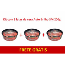 Cera Auto Brilho C/ Silicone E Carnaúba 3m - Kit 3 Latas