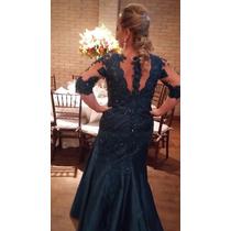 Vestido Mãe De Noivo Com Rendas E Bordados - Novíssimo
