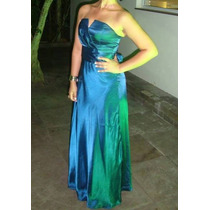 Vestido De Festa - Azul - Cetim - Tomara Que Caia - Tam. M
