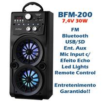 Caixa De Som Amplificada Bateria Bluetooth Bootes Bfm-200