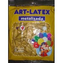 Balão Art-latex Nº9 Ouro E Cristal - 250 Bexigas