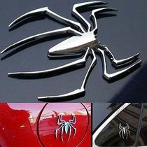 Adesivo Aranha 3d, Cromado, Emblema, Moto, Carro, Spider