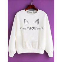 Moletom Blusa Frio Sueter Abrigo Jaqueta Gato Meow Cat