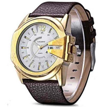 Relógio Masculino. Bracelete De Couro. Super Moderno. Branco