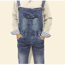 Macacão Jardineira Masculina Jeans Algodão Slim Fit