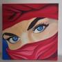 Pintura Muçulmana De Olhos Azuis - Óleo Sobre Tela