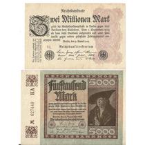 2 Cédulas Da Alemanha 1922/23 5 Mil E 10 Milhões Mark Sob/fe