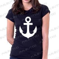 Baby Look Camiseta Âncora Personalizado Blusa Feminina Color