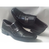 Sapato Masculino Social Em Couro Cor Preta Delles