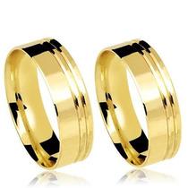 Alianças De Casamento Ouro 18k Reta Com Frisos 7mm 14 Gramas