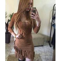 Vestido Suede Camurça Franjas Moda Blogueira Menor Preço