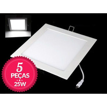 5 Painel Plafon Luminaria Embutir Led Slim Downlight 25w