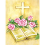 Cruz De Easter E Bíblia Com Rosas Flag Canvas Casa Tamanho