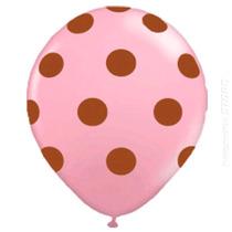 50 Unidades Balão Bexiga Decorada Nº10 Rosa Bola Marrom