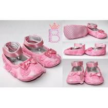Sapatinho Bebê Menina Importado Com Rosas E Lacinho