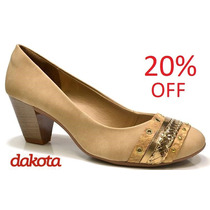 20% Off Sapato Scarpin Dakota Couro B7483 - Nude