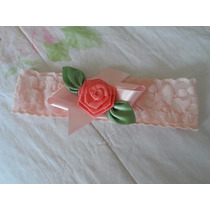 Faixa Para Cabelo Bebê Menina Renda Delicada Com Flor