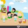 Kit Scrapbook Digital Praia Surf Hawaii Imagens Clipart
