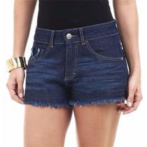 Short Feminino Em Jeans Com Nervuras