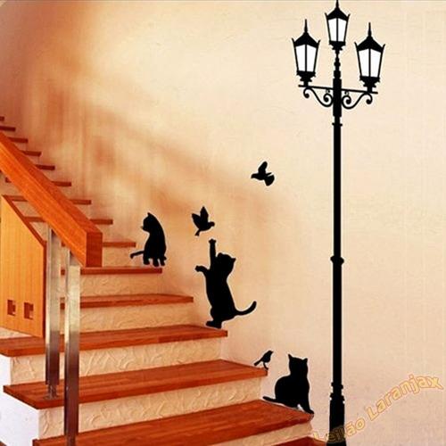 Adesivo Decorativo Parede Quarto Sala Gato Pássaro Luminária