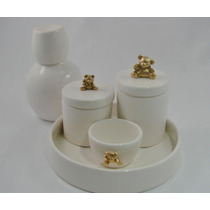 Urso Kit Higiene 5 Porcelana Cerâmica Algodão Cotonete Bebê
