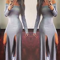 Vestido Feminino Longo Manga Longa Fenda Dupla Em Viscolycra