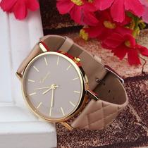 Relógio Feminino Caqui E Dourado Social Bonito E Barato