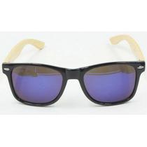 Óculos De Sol Bamboo Azul Mercúrio Madeira Uv400 Unisex